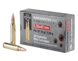 PPU Rangemaster 55 gr FMJBT 5.56x45 Ammunition 20 Rounds