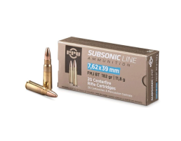 PRVI Partizan 182 Grain FMJ Subsonic 7.62x39 Ammo, 20rd/box - PPS76239