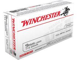 Winchester USA 9mm 115gr FMJ ammunition 50rds - Q4172