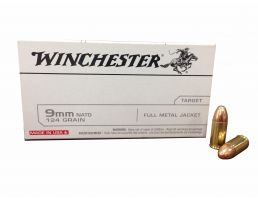 Winchester USA 9mm NATO 124gr FMJ Ammunition 50rds - Q4318