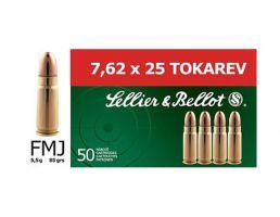 Sellier & Bellot 7.62x25mm Tokarev 85 gr FMJ 50 Rounds Ammunition