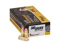 Sig Sauer 9mm 124gr FMJ Elite Ball Ammunition 50rds - E9MMB2-50