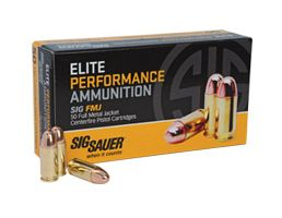 Sig Sauer 38 Super+P NOT FOR REVOLVERS 125gr FMJ Elite Ball Ammunition 50rds - E38SUB-50