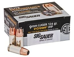 Sig Sauer Elite Performance 9mm 124gr V-Crown JHP 50 Rounds Ammunition - E9MMA2-50