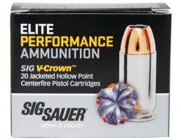 Sig Sauer 10mm 180gr JHP V-Crown Elite Performance Ammunition 20rds - 10MM1-20