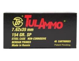 7.62x39mm Ammo Tula 7.62x39mm 154gr SP Steel Cased Ammunition (40rds) - UL076214