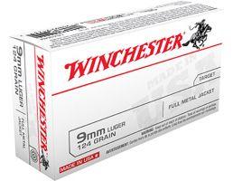 Winchester USA 9mm 124gr FMJ Ammunition 50rds - USA9MM