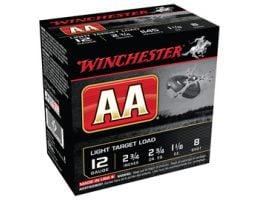 Winchester 12ga 2.75 1-1/8oz #8 AA Light Target Load Shotshell Ammunition 25rds - AA128