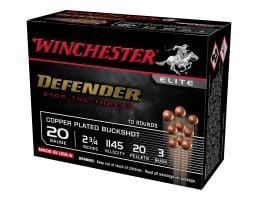 """Winchester Defender 2.75"""" #3 Copper Plated Buckshot 20 Gauge Ammunition 10 Rounds For Sale"""