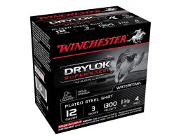 "Winchester Drylok Super Steel Magnum 3"" 4 Shot Plated Steel 12 Gauge Ammunition 25 Rounds"