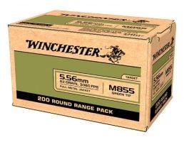 Winchester M855 62 gr FMJ Green Tip 5.56x45mm Ammunition 200 Rounds