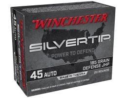 Winchester Silvertip 185 gr JHP .45 ACP Ammunition 20 Rounds