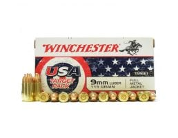 Winchester USA 115 gr FMJ 9mm Ammunition 50 Rounds