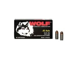 Wolf 45 ACP 230 gr FMJ Steel Cased 50 Rounds Ammunition - 45FMJ
