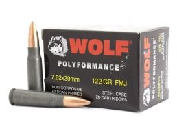 Wolf Performance 122 gr FMJ 7.62x39 Steel Cased Ammunition 20 Rounds