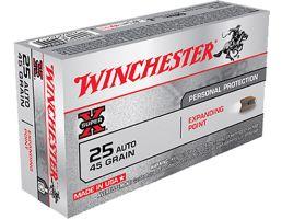 Winchester 25 Auto/ACP 45gr Expanding Point Super X Ammunition 50 rounds - X25AXP