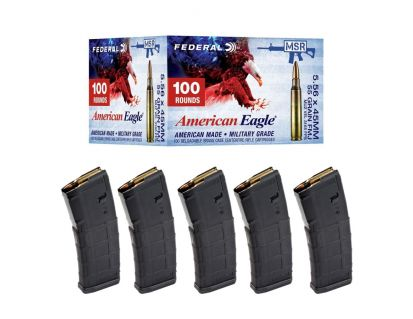 Federal American Eagle Training 55 gr FMJ 5.56x45 Ammunition 100 Rounds & 5 Magpul PMAG 30 Round Magazines