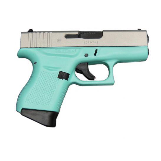 Glock G43 9mm Silver Aluminum Cerakote and Robin Egg Blue Subcompact Pistol - UI4350204RESA