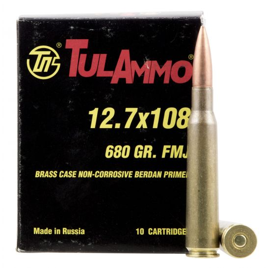 Tulammo 680 Gr Full Metal Jacket 12.7x108mm Ammo, 10/box