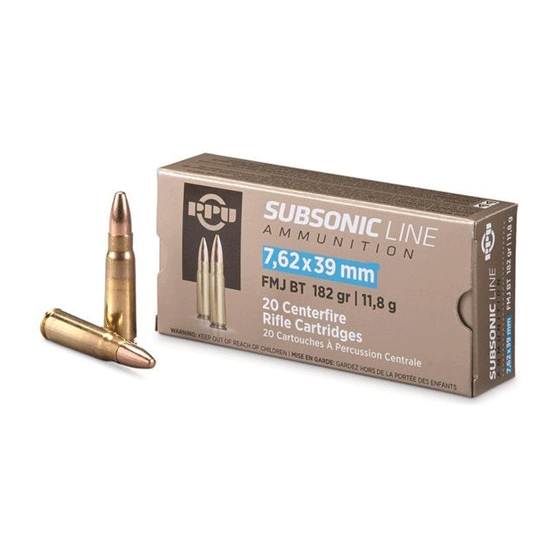 Prvi Partizan 182 Grain Fmj Subsonic 7 62x39 Ammo 20rd Box Pps76239 Palmetto State Armory