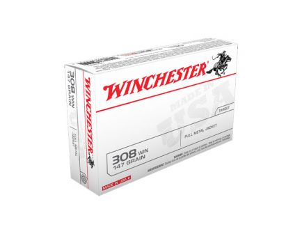 Winchester USA 308 Win 147gr FMJ Ammunition, 20 Round Box - USA3081
