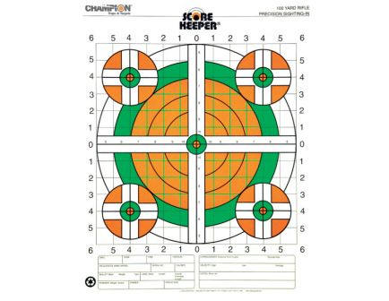 Champion Scorekeeper 100 Yard Sight-In Fluorescent Rifle Targets, 100 Pack - 45731