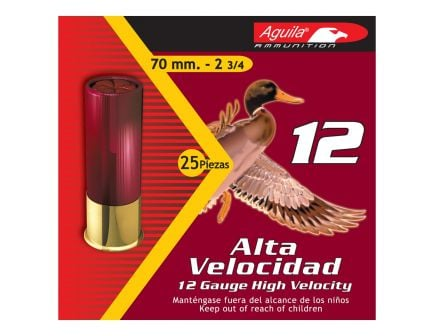 Aguila Field 12 Gauge 2-3/4 inches 2 Shot 1-1/4 oz High Velocity Lead Shotshell, Birdshot, 25/Box - 1CHB1202