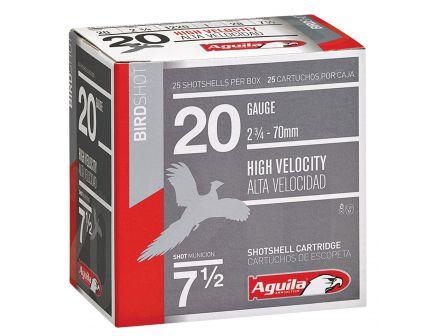 Aguila Field 20 Gauge 2-3/4 inches 8 Shot 1 oz High Velocity Lead Shotshell, Birdshot, 25/Box - 1CHB2048