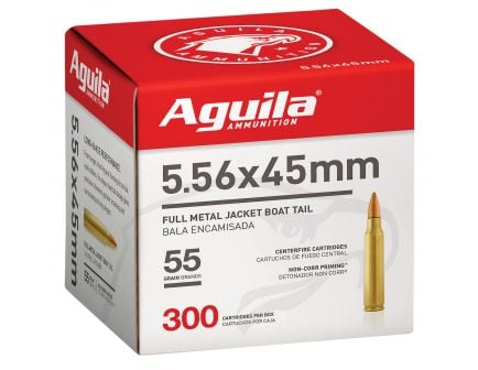 Aguila Centerfire 5.56x45mm 55 grain Full Metal Jacket Boat Tail Rifle Ammo, 300/Box - 1E556126