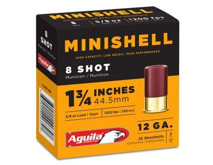 Aguila Minishell 12 Gauge 1-3/4 inches 8 Shot 5/8 oz Shotshell, 25/Box - 1CHB1388