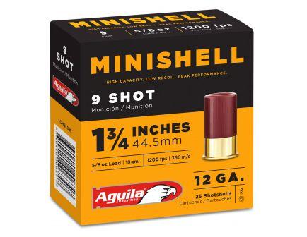 Aguila Minishell 12 Gauge 1-3/4 inches 9 Shot 5/8 oz Shotshell, 25/Box - 1CHB1389