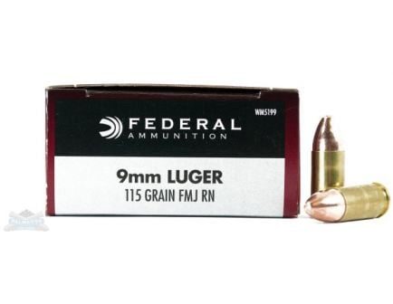 Federal 9mm 115gr FMJ Champion Ammunition 50rds - WM5199