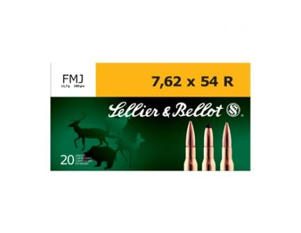 Sellier & Bellot 7.62x54R 180gr FMJ Ammunition, 20 Round Box - SB76254RA