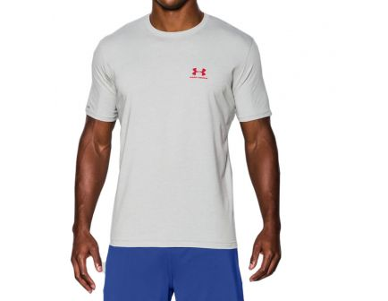 Under Armour Men's Charged Cotton Sportstyle T-Shirt, True Gray Heather (Large) - 1257616-025
