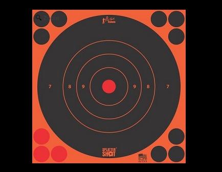 """Pro-Shot Splatter Shot 8"""" - Orange Bull's-Eye Target - Peel and Stick - 6 Pack - 8B-ORNG-6PK"""