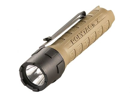 Streamlight PolyTac X 600 Lumen Tactical Flashlight w/ CR123A Batteries, Coyote - 88602