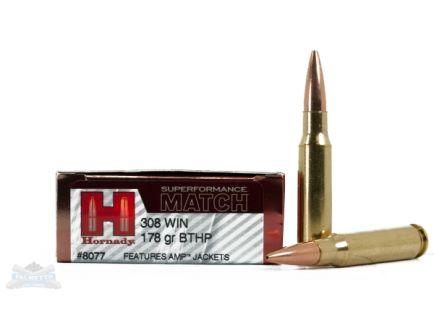Hornady 308 178gr BTHP Superformance Match Ammunition 20rds- - -8077