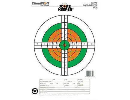 Champion Scorekeeper 25 Yard Slowfire Fluorescent Pistol Target, 12 Pack - 45760