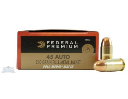Federal 45 Auto/ACP 230gr FMJ Gold Medal Match Ammunition 50rds - GM45A