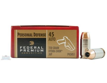 Federal 45 Auto/ACP 230gr Hydra-Shok Ammunition 20rds - P45HS1