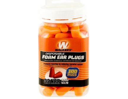 Walkers Game Ear 32 dB Disposable Inside the Ear Plug, Orange, 100/Jar - GWPFP50PK