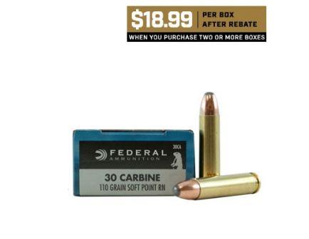 Federal 30 Carbine 110 SP RN Power-Shok Ammunition 20rds - 30CA