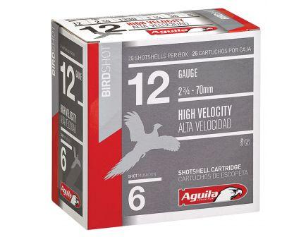 Aguila Field 12 Gauge 2-3/4 inches 6 Shot 1-1/4 oz High Velocity Lead Shotshell, Birdshot, 25/Box - 1CHB1206