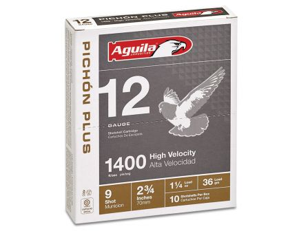 Aguila Competition 12 Gauge 2-3/4 inches 9 Shot 1-1/4 oz Pichon Plus Lead Shotshell, Birdshot, 10/Box - 1CHB1297