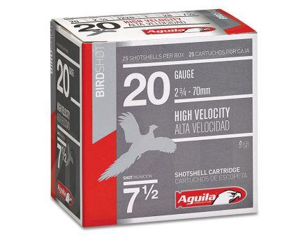 Aguila Field 20 Gauge 2-3/4 inches 7-1/2 Shot 1 oz High Velocity Lead Shotshell, Birdshot, 25/Box - 1CHB2007