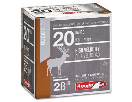 Aguila Field 20 Gauge 2-3/4 inches 2 Buck Shot 1 oz Lead Shotshell, Buckshot, 25/Box - 1C2002BA