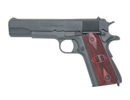 Auto Ordnance Pistol 1911A1 Parkerized with US logo Wood Grips 1911PKZSEW
