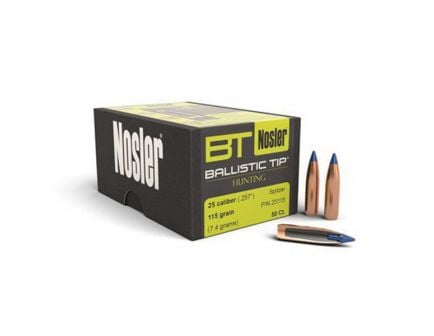 Nosler 25 Caliber (.257) 115gr Spitzer Ballistic Tip Bullets 50ct - 25115