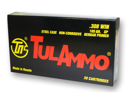 TulAmmo .308 Winchester 165 gr SP Steel Case 20 Rounds Ammunition - TA308000