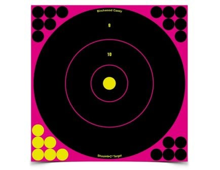 """Birchwood Casey Shoot-N-C 12"""" Pink Bull'sEye Target, 5-Pack - 34027"""